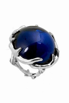 House Of Harlow Antler Ring with Round Navy Cabochon in Silver