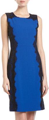 Chetta B Lace-Side Sheath Dress, Royal