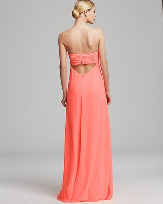 Aqua Gown - Grecian Strapless Open Back