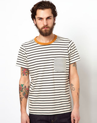 Universal Works T-Shirt With Stripe Contrast Pocket