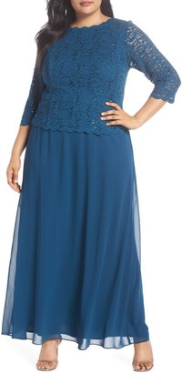 Alex Evenings Mock Two-Piece A-Line Gown