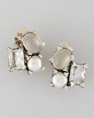 Stephen Dweck Popcorn Small Stone Cluster Clip Earrings