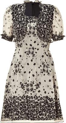 Anna Sui Black/Nude Floral Print Dress
