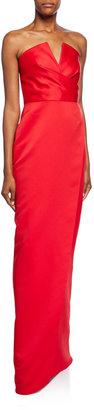 Jay Godfrey Darcy Strapless V-Neck Gown w/ Slit