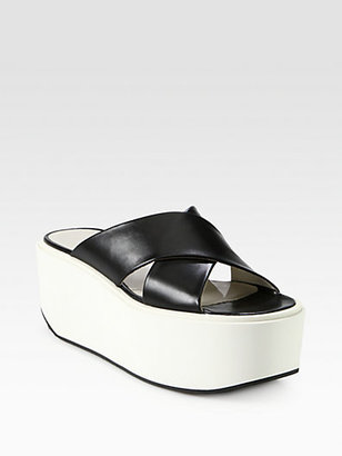 Jil Sander Navy Textured Leather Crisscross Platform Sandals
