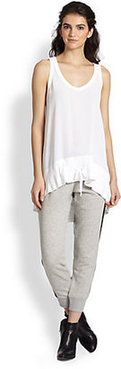 Wilt Leather-Trimmed Cropped Cotton Jersey Track Pants