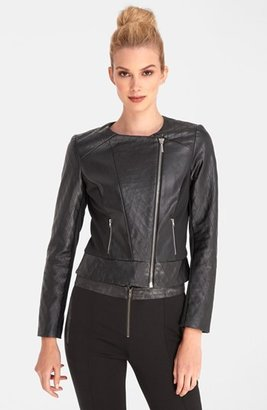 Catherine Malandrino Quilted Faux Leather Bomber Jacket