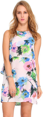 Romwe Double-layered Floral Print Dress