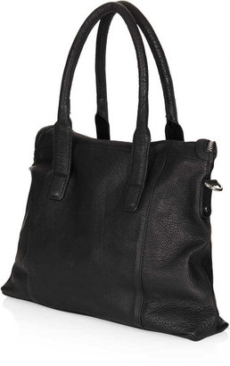 Topshop Multi Zip Side Panel Leather Tote Bag