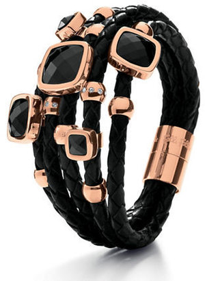 Folli Follie Faux Leather and Black Crystal Bracelet