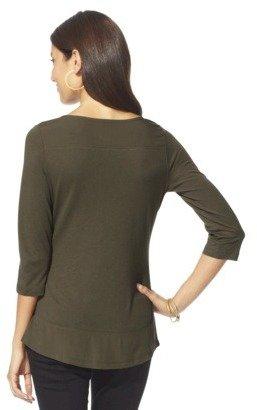 Merona Women's Long Sleeve Colorblock Tee - Assorted Colors