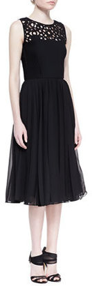 Oscar de la Renta Laser-Cut Silk Dress with Pleated Skirt, Black