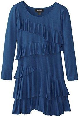 Amy Byer Big Girls' Long-Sleeve Ruffle-Front Dress