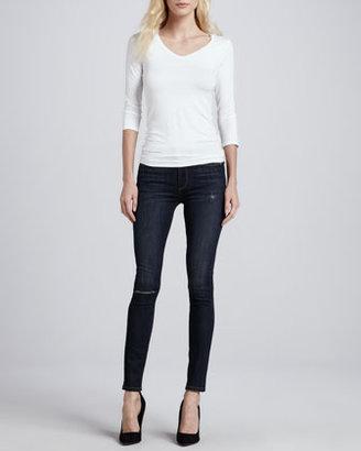Paige Skyline Ankle Peg Voyage Destroyed Skinny Jeans