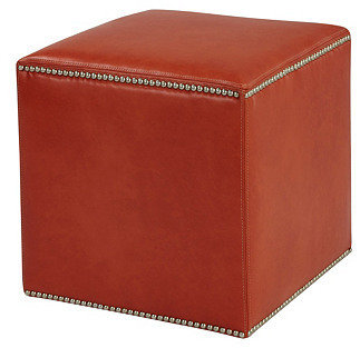 Massoud Furniture Manufacturing, Inc. Gibson Leather Ottoman, Red
