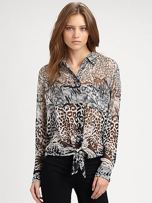 Equipment Mixed-Print Silk Shirt
