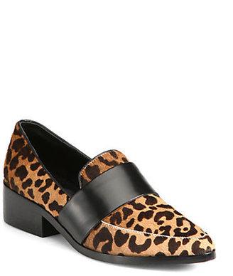 3.1 Phillip Lim Quinn Leopard-Print Calf Hair & Leather Loafers