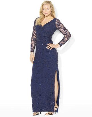 Lauren Ralph Lauren Long-Sleeved Sequined Surplice Floor-Length Dress