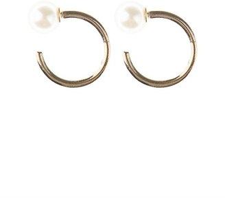 Julien David Pearl and gold small hoop earrings