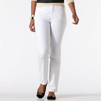 Gloria Vanderbilt amanda color slimming embroidered tapered jeans