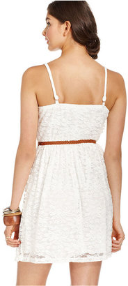 Amy Byer Juniors Dress, Spaghetti-Strap Belted Lace