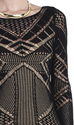 BCBGMAXAZRIA Amur Mixed Pointelle Dress