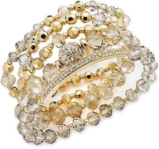INC International Concepts Gold-Tone Black/Grey Shimmer Crystal Stretch Bracelet Set