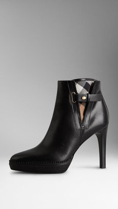 Burberry Check Detail Ankle Boots