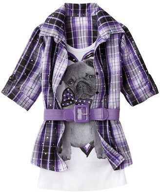 Knitworks plaid dog belted mock-layer top - girls 7-16