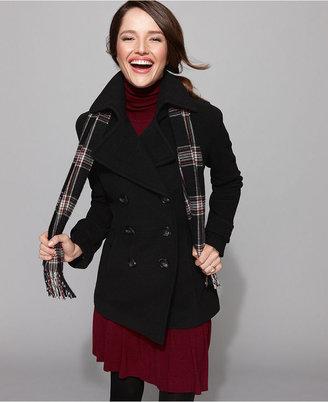 London Fog Coat, Wool-Blend Pea Coat & Printed Scarf