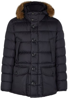 Moncler Cluny Navy Fur-trimmed Quilted Shell Coat