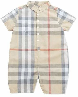 Burberry Kirk Infant Boys' Short-Sleeve Check Playsuit, 3-24 Months $150 thestylecure.com