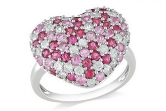 Ice 2 1/3 CT Pink and White Sapphire Sterling Silver Heart Ring