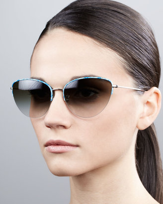Oliver Peoples Kiley Semi-Rimless Cat-Eye Sunglasses, Turquoise/Silk