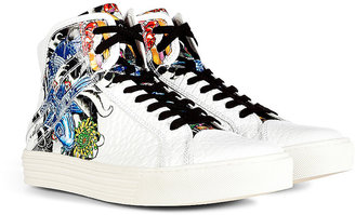 Hogan Embossed Printed Leather Derby Mid Cut Sneakers