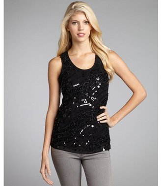 Romeo & Juliet Couture black semi-sheer chiffon woven bead and sequin front tank blouse