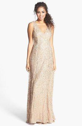 Adrianna Papell Embellished V-Neck Gown