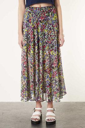 Topshop Dot Floral Maxi Skirt