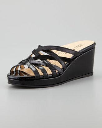 Anyi Lu Isis Crisscross Low Wedge Slide Sandal, Black