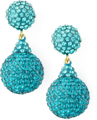 Jose & Maria Barrera Pave Crystal Double-Drop Earrings, Light Blue