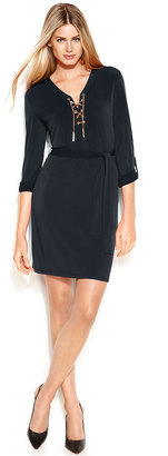MICHAEL Michael Kors Long-Sleeve Lace-Up Belted Shirtdress