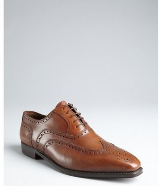 Brioni brown leather wingtip square toe oxfords