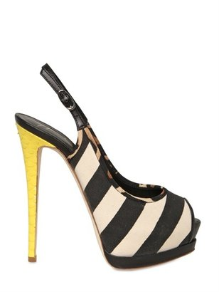 Giuseppe Zanotti 140mm Leather & Canvas Sling Back Pumps