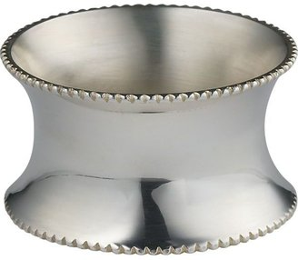 Crate & Barrel Silver Napkin Ring with Beaded Rim