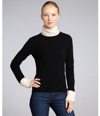 Magaschoni black and ivory cashmere contrast detail turtleneck
