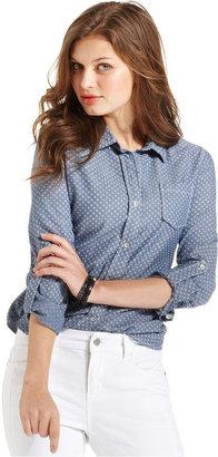 DKNY Shirt, Long-Sleeve Chambray Printed