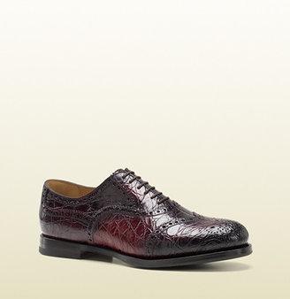 Gucci Bordeaux Brogue Crocodile Lace-Up Shoe