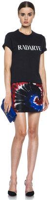 Rodarte Printed Tie Dye Silk Mini Skirt in Red & Blue & Black