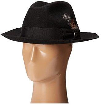 Stacy Adams Wool Felt Fedora w/ Grosgrain Band (Black) Fedora Hats