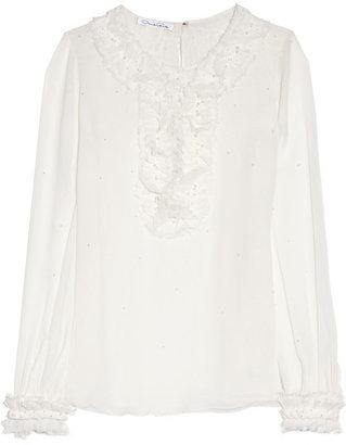 Oscar de la Renta Embellished crinkled silk-chiffon blouse